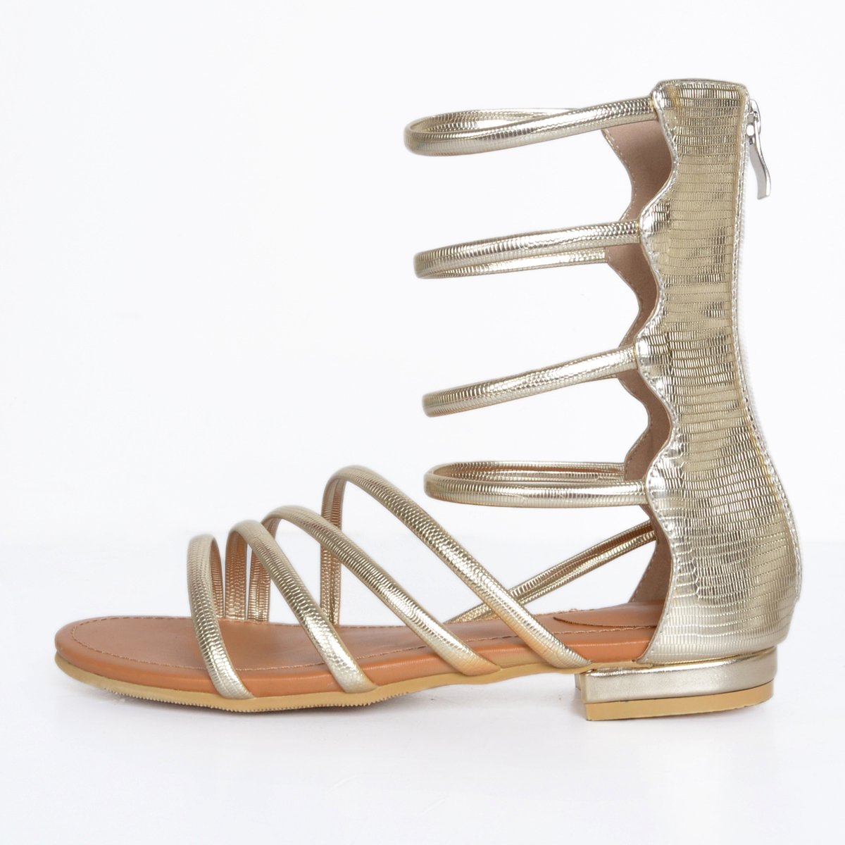 Kolnoo Damen Handgefertigte Riemen Riemen Handgefertigte Sexy Sommer Wohnungen Sandalen Einfache Tägliche Schuhe Gold 84a4ef