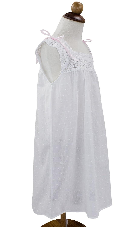 StylesILove Handmade Girls Embroidered Lace Cotton Night Dress White Age 2-12 Pink Ribbon Sleeveless, 2-3 Years