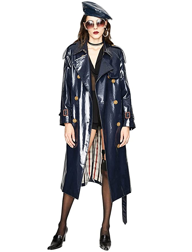 Murfhee Women's Fashion Patent Leather Waterproof Long Trench Coat Maxi Jacket