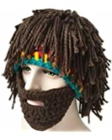 Da.Wa 1 Stück Vagabond Bild Lustige Hüte Wintermütze mit Bart für Eine Maskerade,Braun