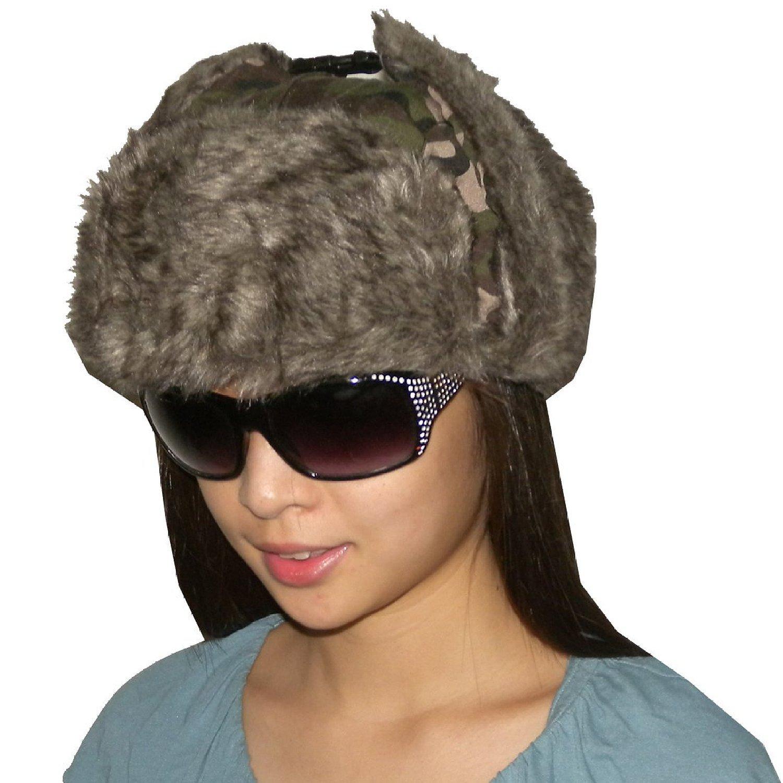 Unisex Weatherproof Warm Winter Faux Fur Pilot Trapper Trooper Ski Hat - Camo
