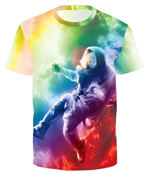 Ocean Plus Herren 3D Druck Fit Kurzarm T-Shirt Rundkragen Tee Tierdruck  Shirt Streetwear Tops 25e755ab5a