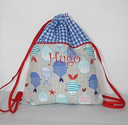cm el peces x 30 Bolsa con bordado mochila personalizada nombre 37 xHnAFwRq