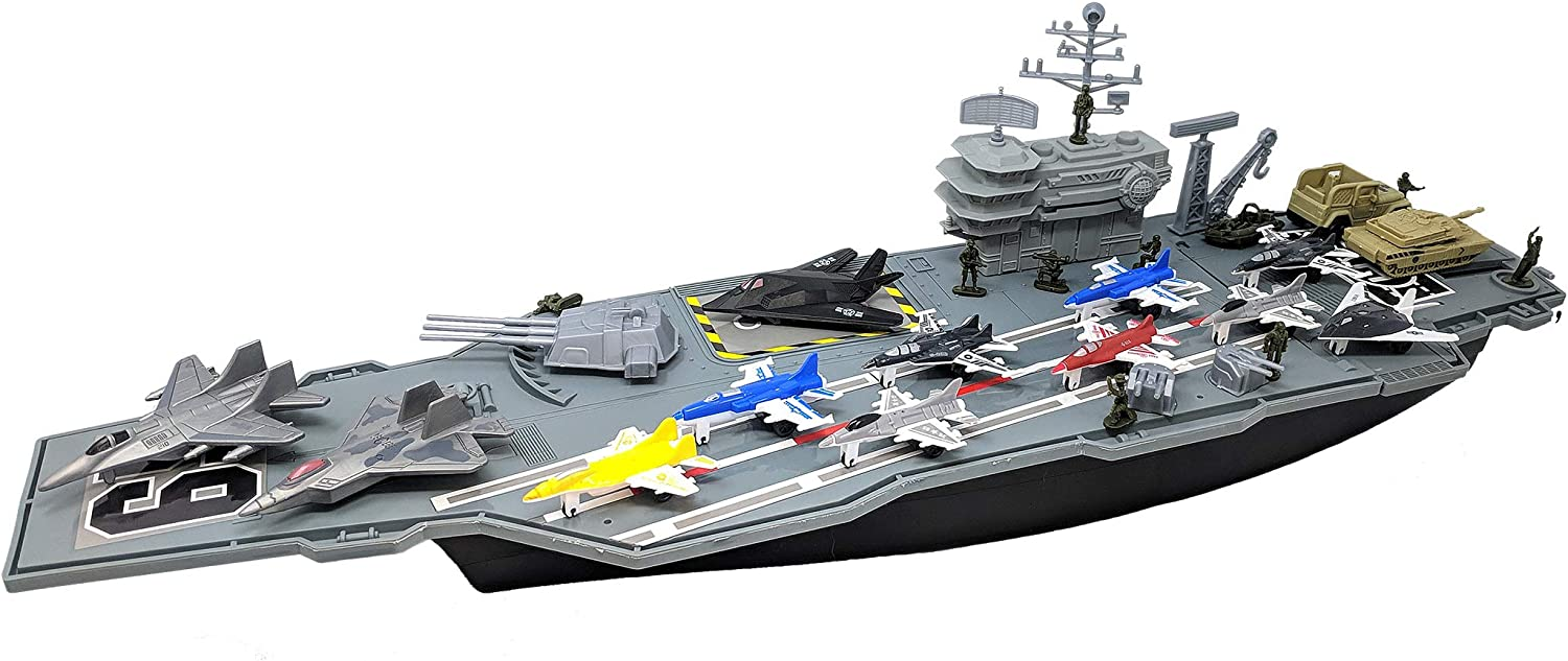 Toy Essentials 27 Inch Aircraft Carrier with Fighter Jets Vehicles and Mini Soldiers and Bonus 9 Fighter Jets