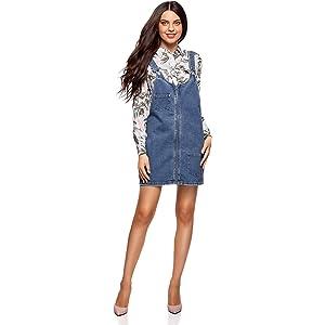 New Look Curves Charlotte Buckle Pinny Vestido, Azul (Light Blue ...