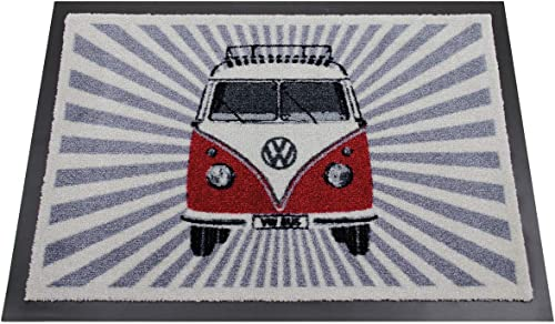 BRISA VW Collection – Volkswagen Samba Bus T1 Camper Van Door Mat, Entrance Mat, Indoor Outdoor Welcome Mat 27×20 Inches Samba Stripes Red