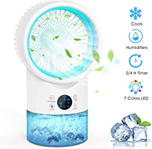 AMEIKO Portable Air Conditioner Fan, Personal Air Cooler Desk Fan Mini Evaporative Cooler with Extra Large Air Outlet, 7 Colors Light Changing, 3 Speeds Misting Fan for Bedroom Home Office