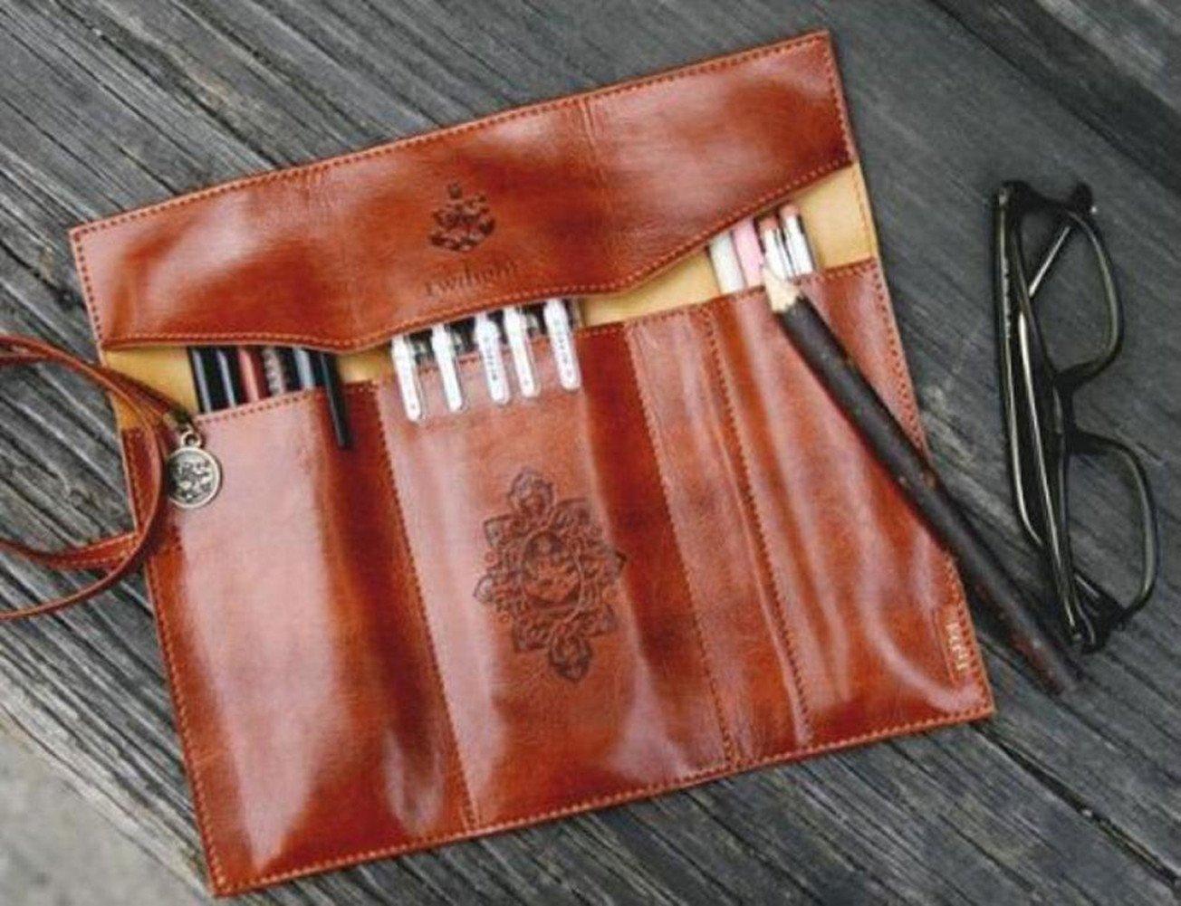 LAAT Trousse Vintage Sac /à Crayons Petites Bourses /étui /à Crayons Trousse /à Crayons Trousse Forme en Cuir de Maquillage Stylo /à Bille Personnalit/é