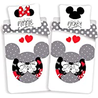 Minnie et Mickey Love Grey – Juego de cama infantil – Funda nórdica de algodón
