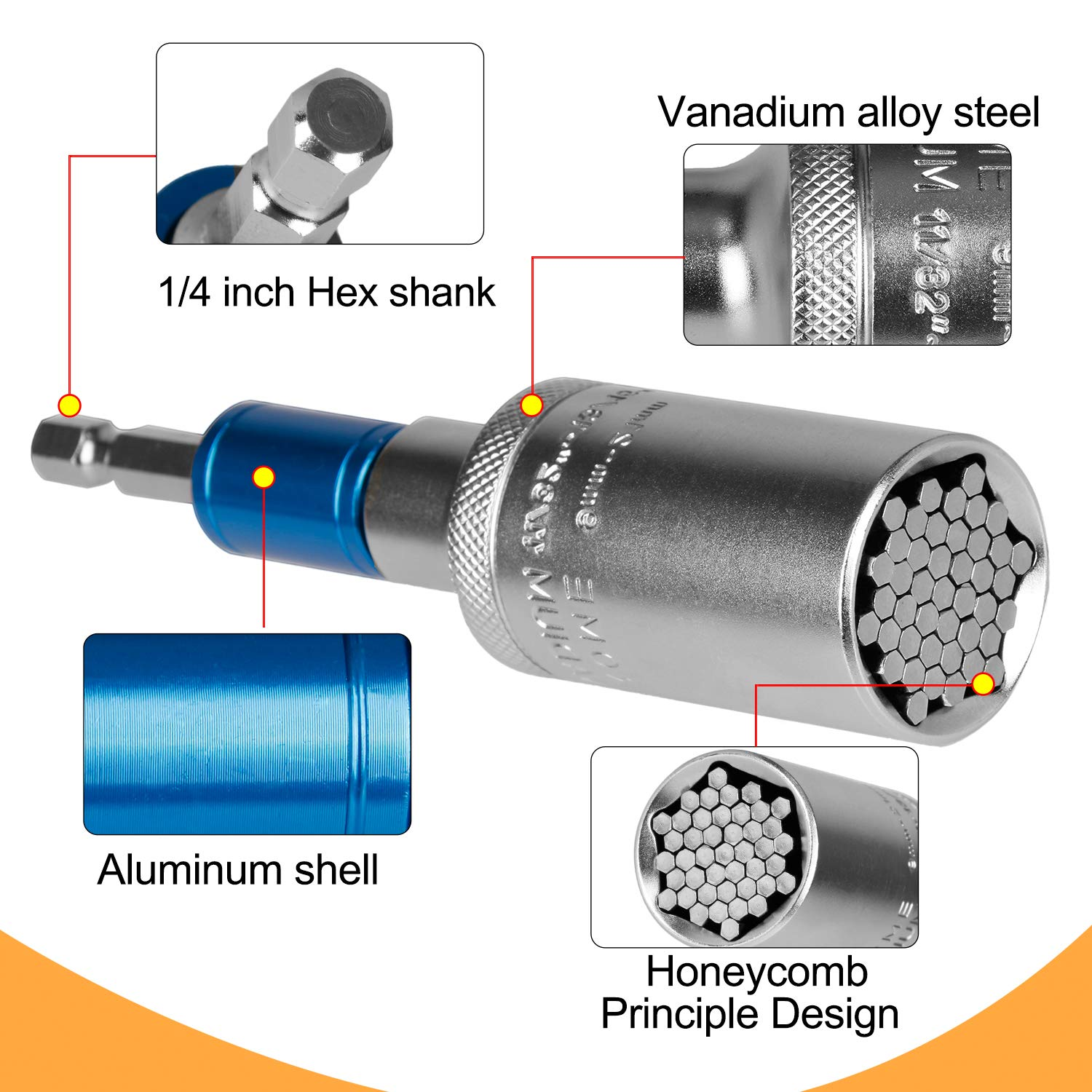 Hakkin Universal Socket Wrench Set with 105 Degree Right Angle ...