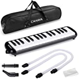 CAHAYA Melodica 32 Keys Double Tubes Mouthpiece Air Piano Keyboard Musical Instrument with Carrying Bag (32 Keys, Black)