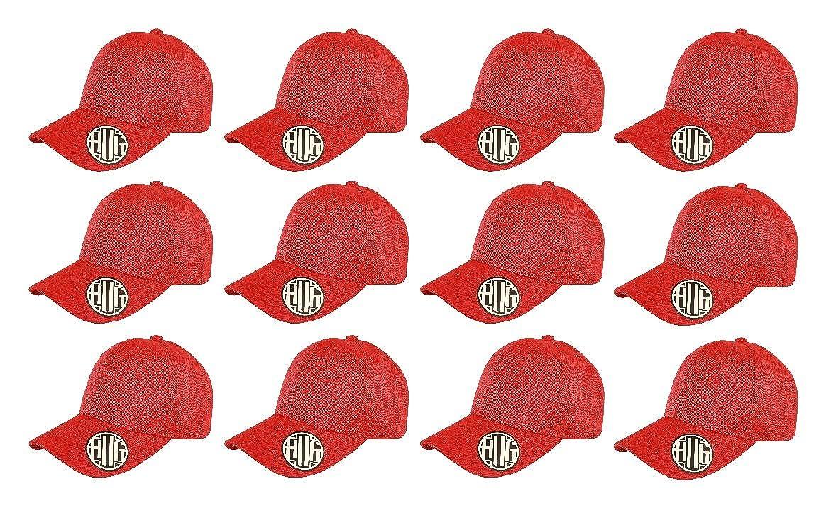 Classic Premium Baseball Cap Adjustable Size Plain Hat Unisex Pack of 12