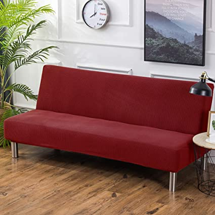 YHviking Solid Color Elastic Sofa Cover,No Armrest Removable Stretch  Slipcovers,All Inclusive