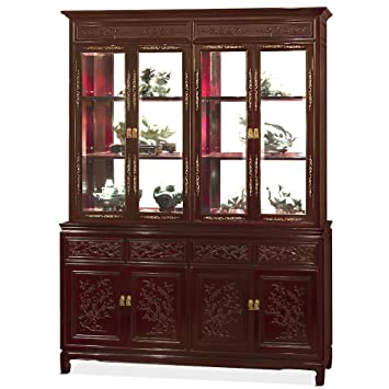 Charmant China Furniture Online 60 In China Cabinet, Dark Cherry Rosewood With  Flower And Bird Carvings