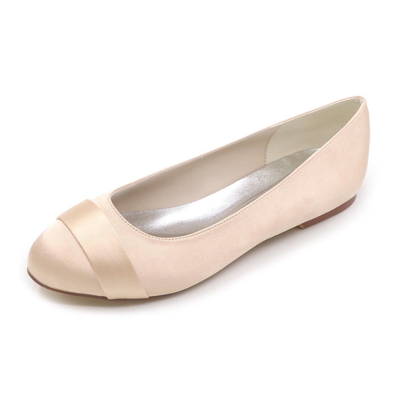 Qingchunhuangtang@ Bombas Wommen Puntilla Raso bajo el Talón Cerrado Toe Zapatos de Baile para Boda Fiesta Prom de Tamaño Grande,con Color Champán,44 44|Color champán