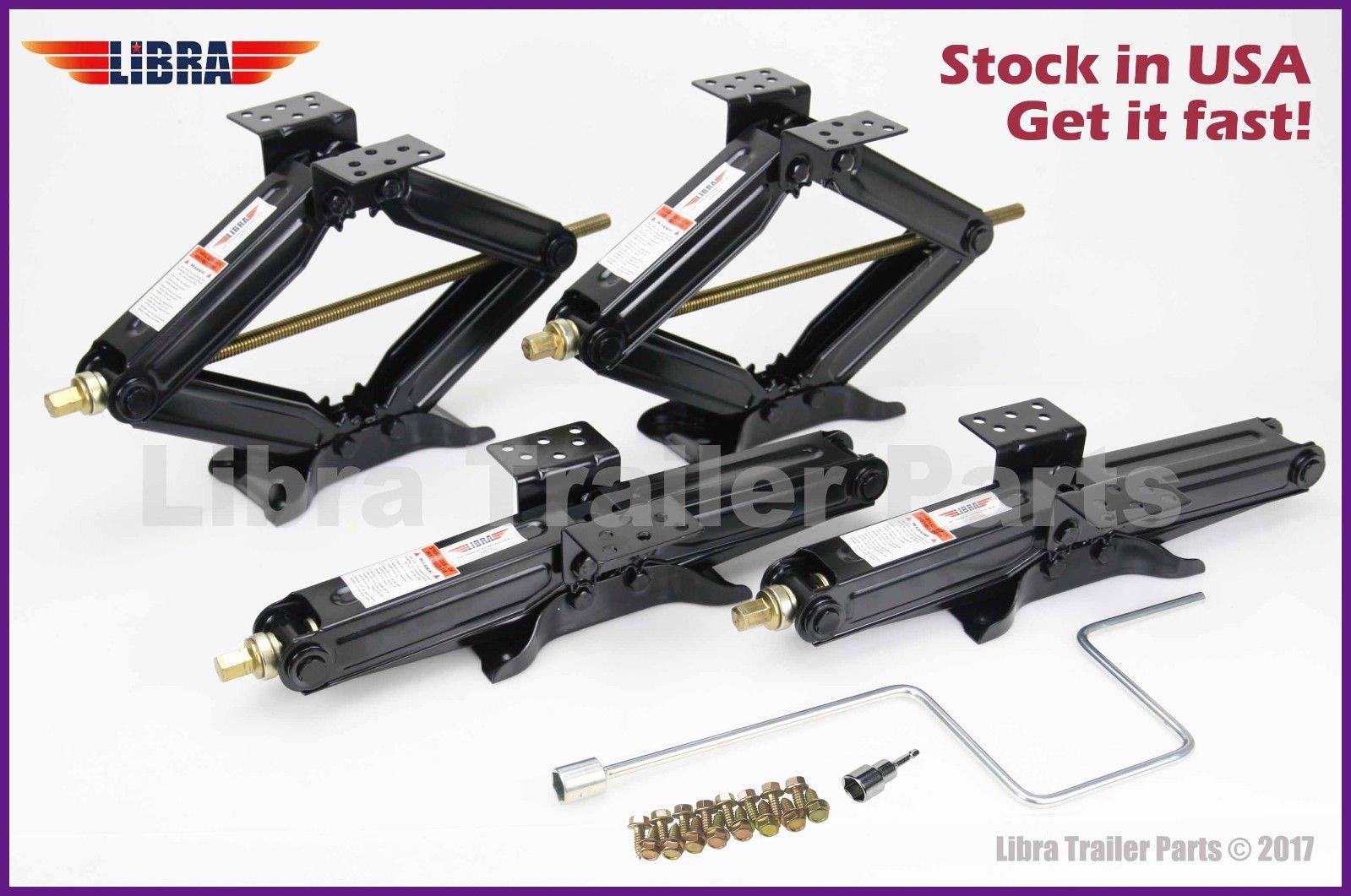 Set of 4 5000lbs 20'' RV Trailer Stabilizer Leveling Scissor Jacks w/handle & Power Drill Socket & Mounting hardware 26036