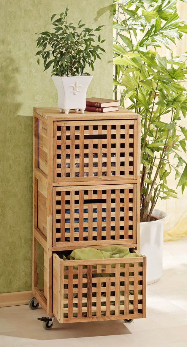 Rollcontainer bad holz  Rollcontainer, Regal, Wäschebox Schrank aus Walnuss Holz: Amazon ...