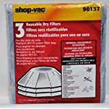 Shop Vac 3 Reusable Dry Filters 90137