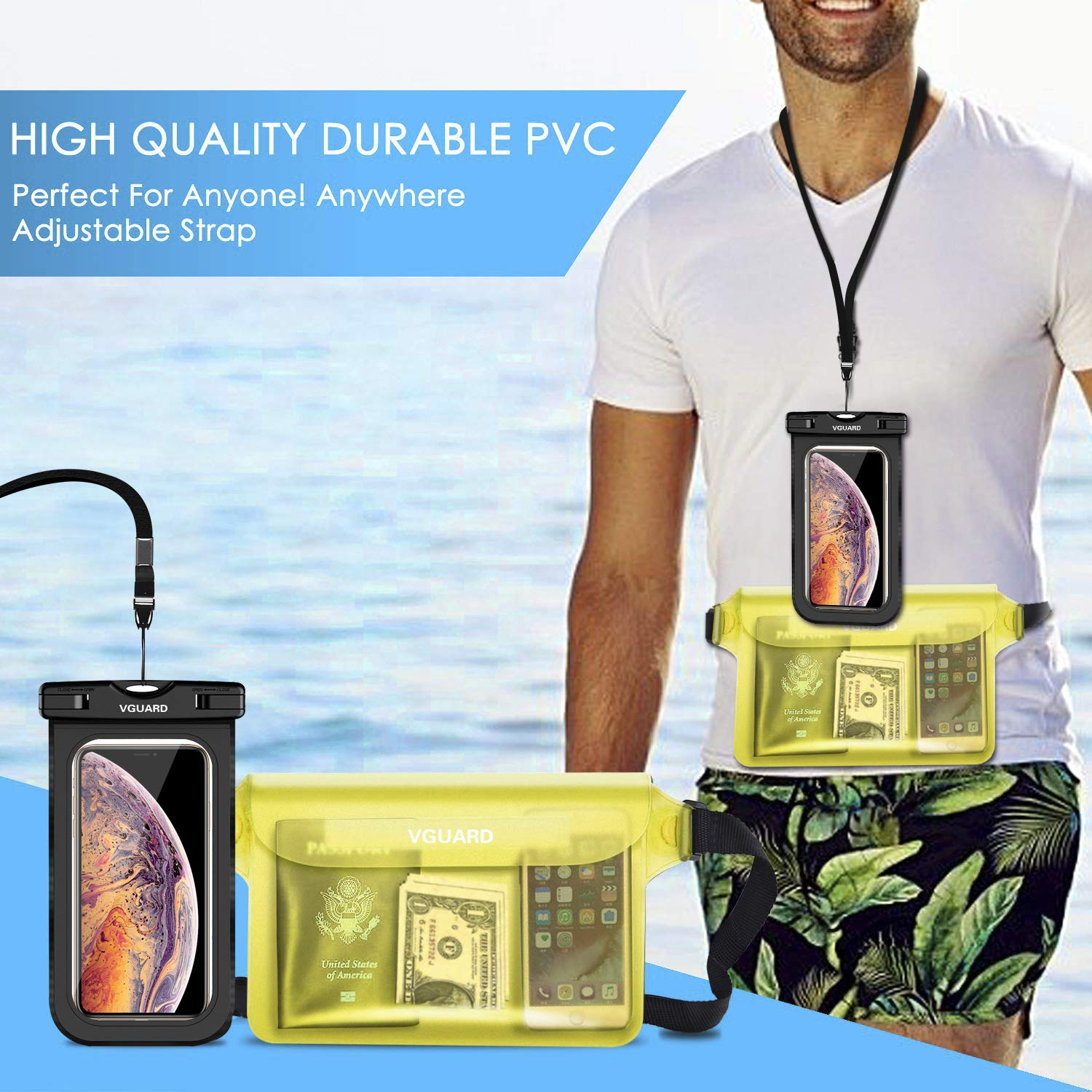 Sand Cash,Passport VGUARD Waterproof Pouch Bag Snow Waterproof Case Dry Bag for Beach,Swim,Boating,Kayaking,Hiking,Protects Iphone Phone Dust and Dirt. Camera Phone Case Document from Water