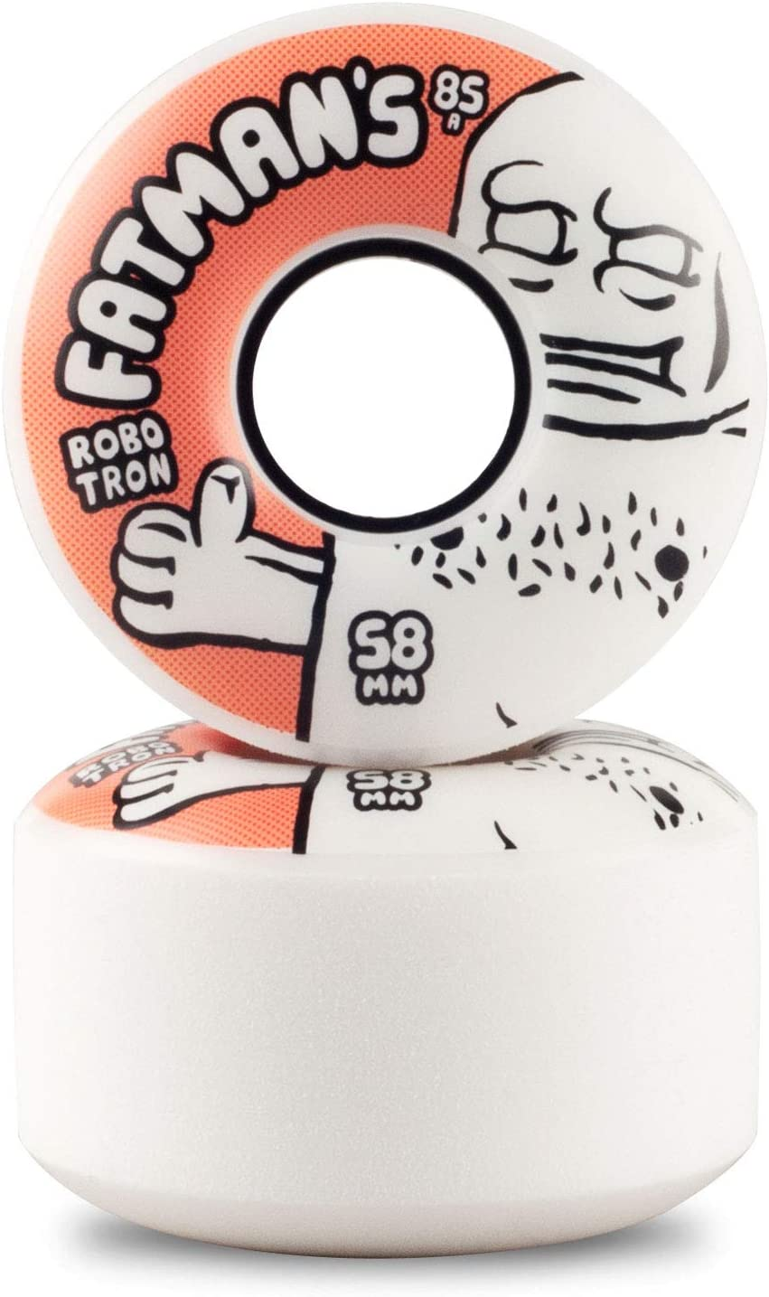 white orange Robotron Skateboardrollen Fatman Cruiser Wheels 58mm 85A