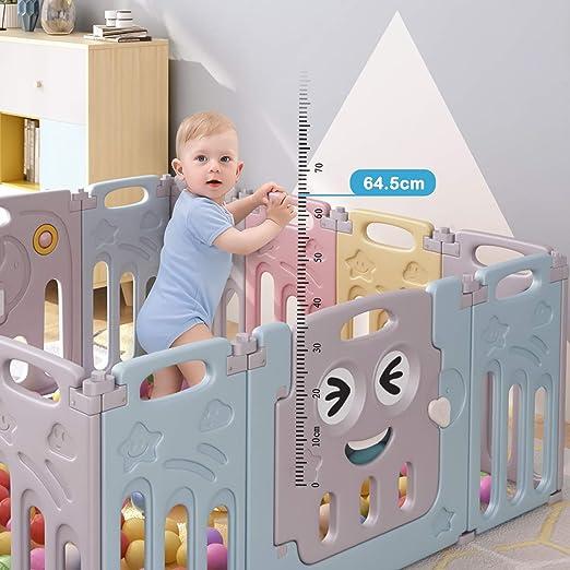 Birtech Parc B/éb/é Barri/ère Securit/è avec Porte Plastique Enfant Protection Grand Jeu Extensible