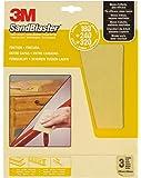 3M 60-M180 SandBlaster Lot de 3 feuilles de papier de verre Grain fin 180/240/320 230 x 280 mm