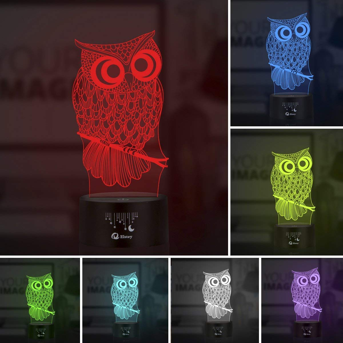 Yunplus 7 Couleurs D/écoration Pour Veilleuse avec Acrylique Flat /& ABS Base /& Chargeur LED USB Modifier toucher vous Botton Lampe de Bureau Lampe de Table Hibou 3D Lampe optique Illusion