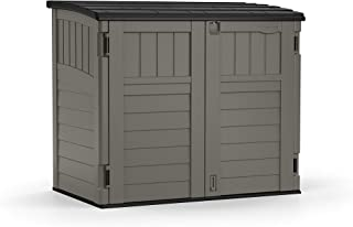 product image for Suncast 4' x 2' Horizontal Storage Shed - Natural Wood-Like Outdoor Storage for Trash Cans and Yard Tools - All-Weather Resin Material, Hinged Lid Design and Reinforced Floor - Stoney