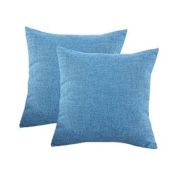 Amazon.com: bluettek Color Sólido (Lino y Algodón Square ...