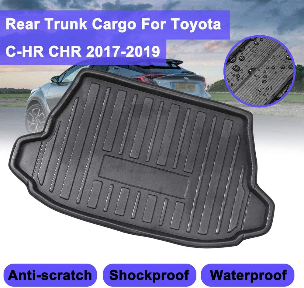 Raraso For Toyota C-HR CHR 2017 2018 2019 Cargo Floor Tray Carpet Mud Pad Boot Mat Rear Trunk Liner Kick Guard Protector waterproof