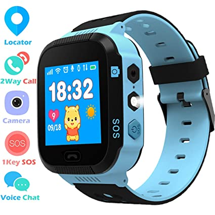 Niños Smartwatch - GPS/LBS Position Tracker Child SOS Help Relojes de Pulsera Cámara Digital Mobile Cell Phone Watch niños para niñas (GM9 Azul)