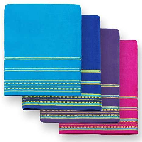 Solid Color Beach Towels.Kaufman 40 X 70 Oversized Solid Color Velour Super Soft Beach And Pool Towel Set Of 4 Pieces Of Each Color Easy Care Extra Large 4 Pk