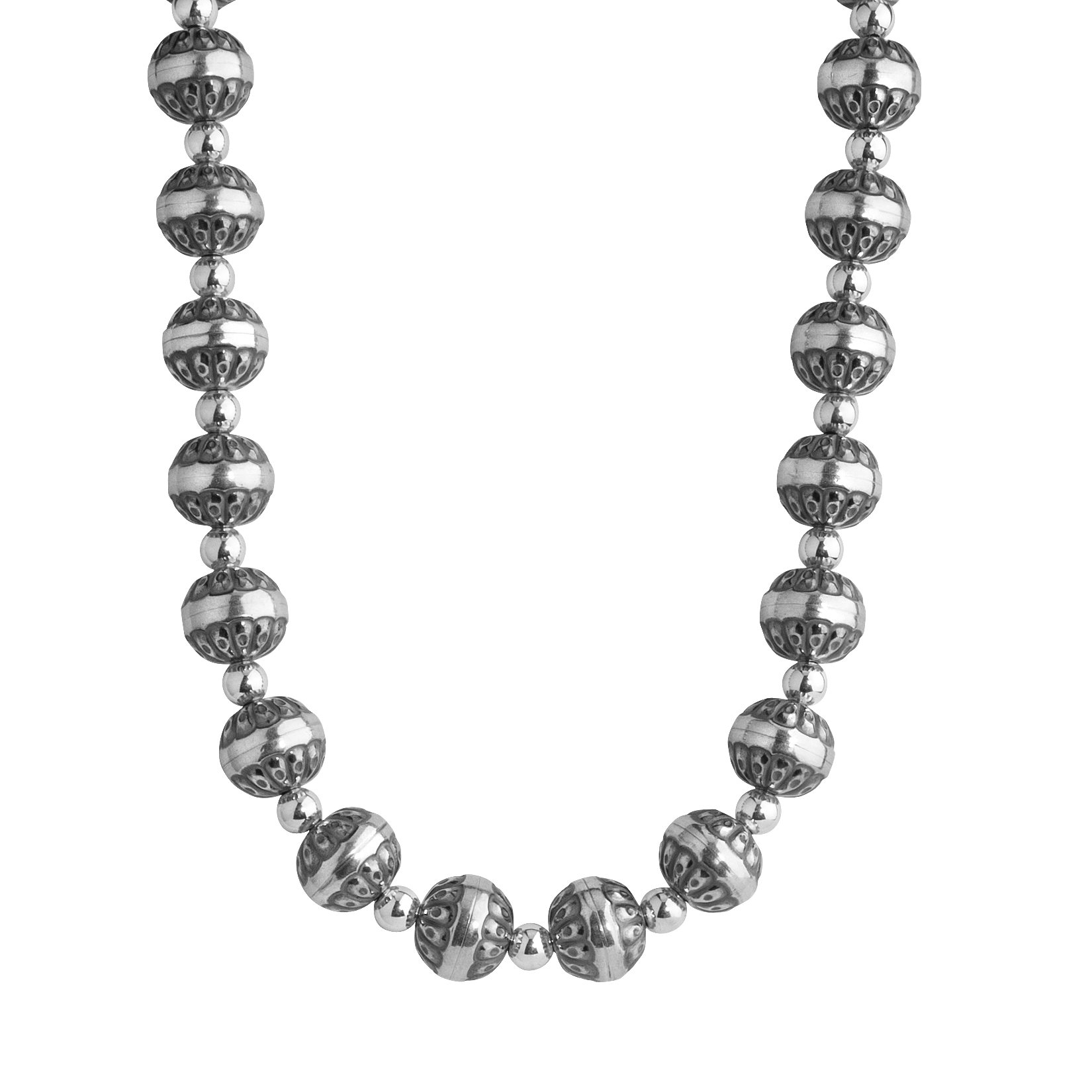 American West Sterling Silver 17'' Beaded Necklace with Native Pearl & Polished Beads