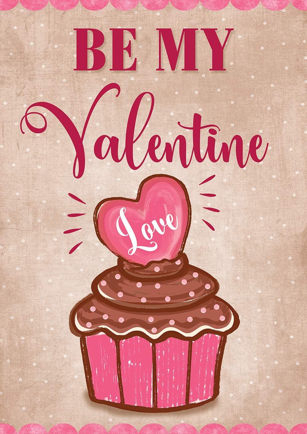 Toland Home Garden 1012281 Valentine Cupcake 28 x 40 Inch Decorative, Spring Love Heart Polka Dot, House Flag