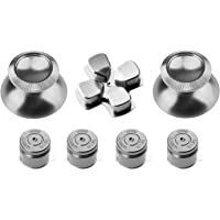 Gam3Gear Controller Replacement Aluminum Buttons Kits for PS4 Thumbstick Chrome Silver