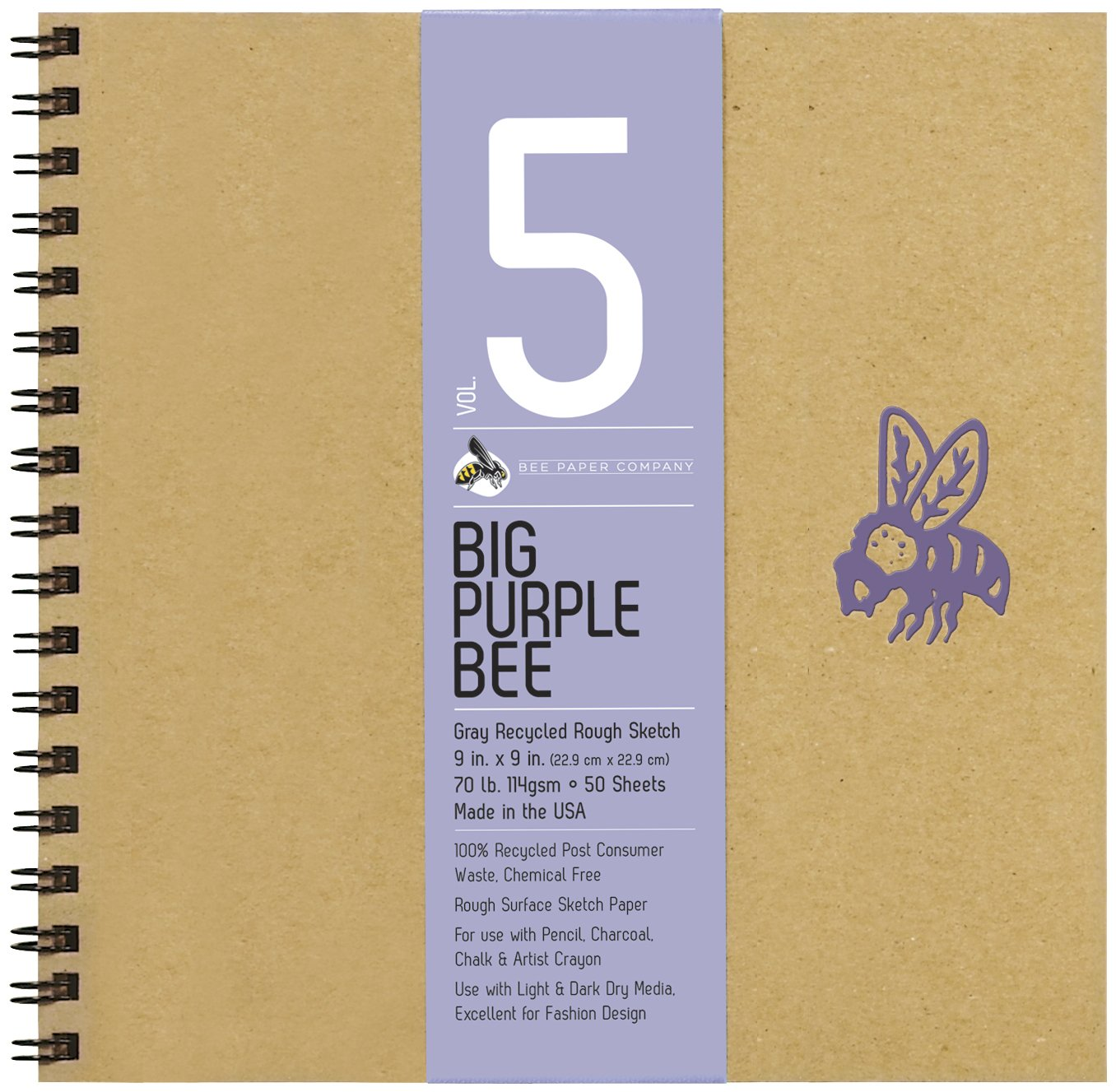 Bee Paper Company Big Purple Bee Drawing Pad, 9 by 9-Inch, Gray Bogus BEE-206CB50-909