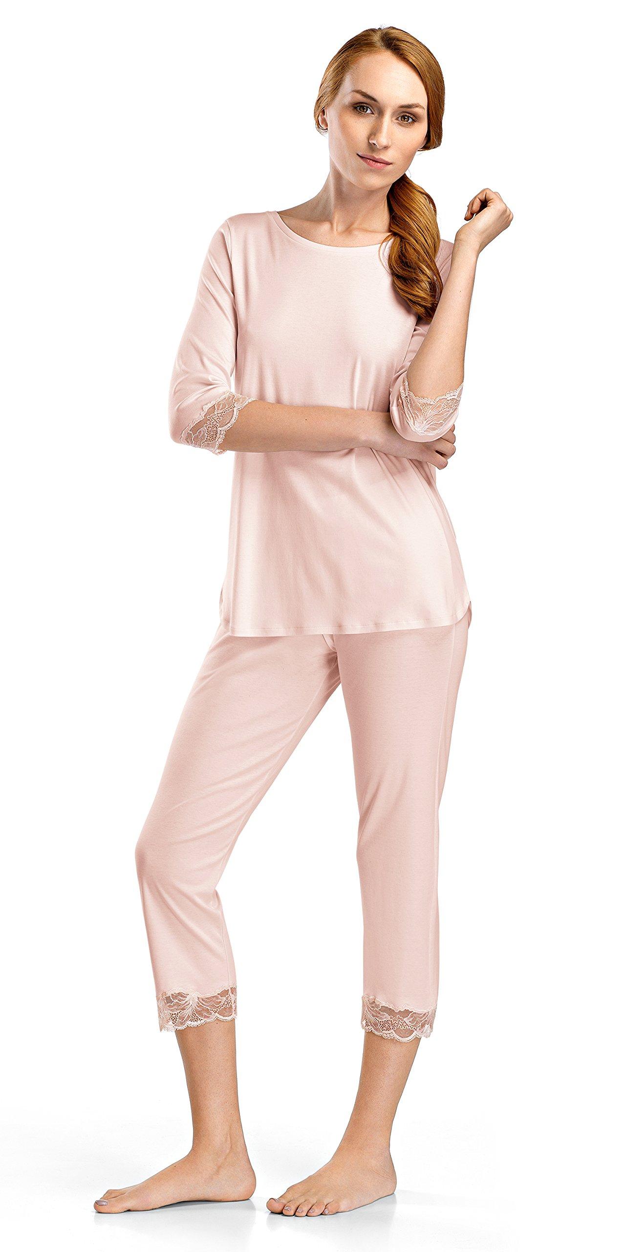 Hanro Women's Valencia 3/4 Sleeve Crop Pajama Set, Crystal Pink, Large