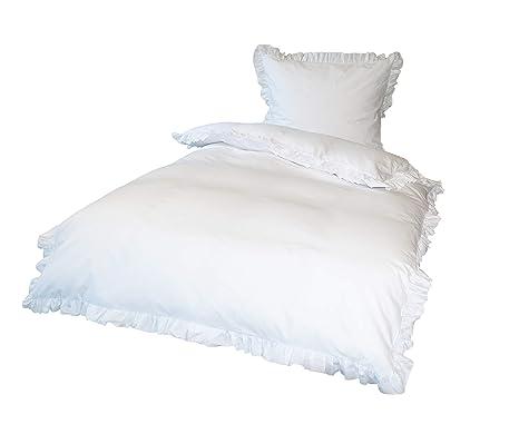 Krollmann 4-TLG. Bettwäsche Set Rüschen mit Reißverschluss 100% Baumwolle, Deckenbezug 135x200cm, Kissenbezug 80x80cm, Vintag