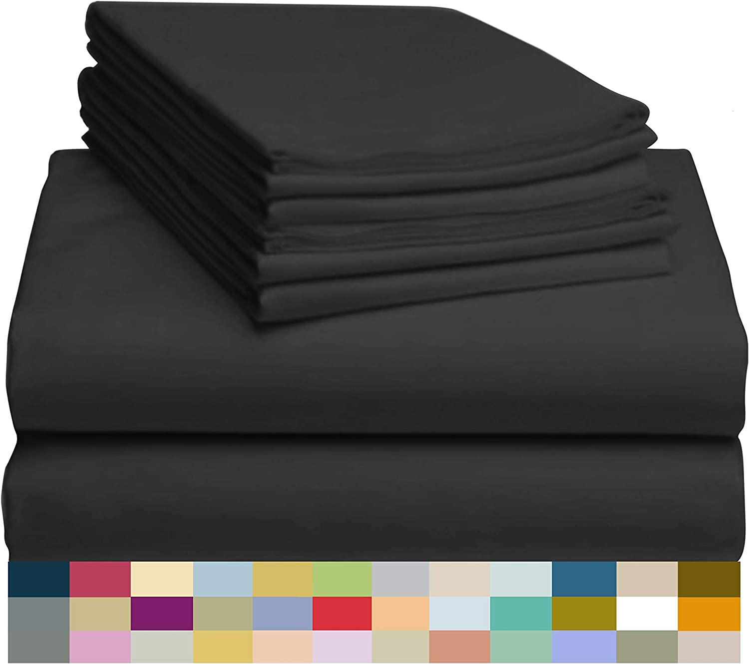 """LuxClub 6 PC Sheet Set Bamboo Sheets Deep Pockets 18"""" Eco Friendly Wrinkle Free Sheets Hypoallergenic Anti-Bacteria Machine Washable Hotel Bedding Silky Soft - Black Full: Home & Kitchen"""