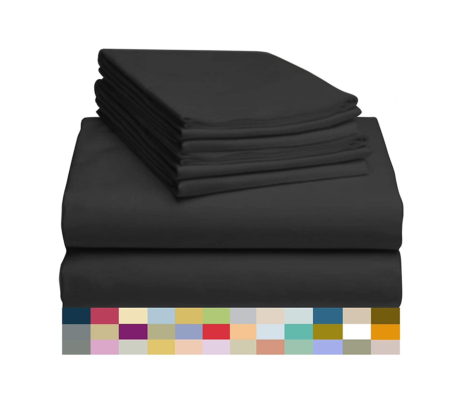 "LuxClub 6 PC Sheet Set Bamboo Sheets Deep Pockets 18"" Eco Friendly Wrinkle Free Sheets Hypoallergenic Anti-Bacteria Machine Washable Hotel Bedding Silky Soft - Black Queen"