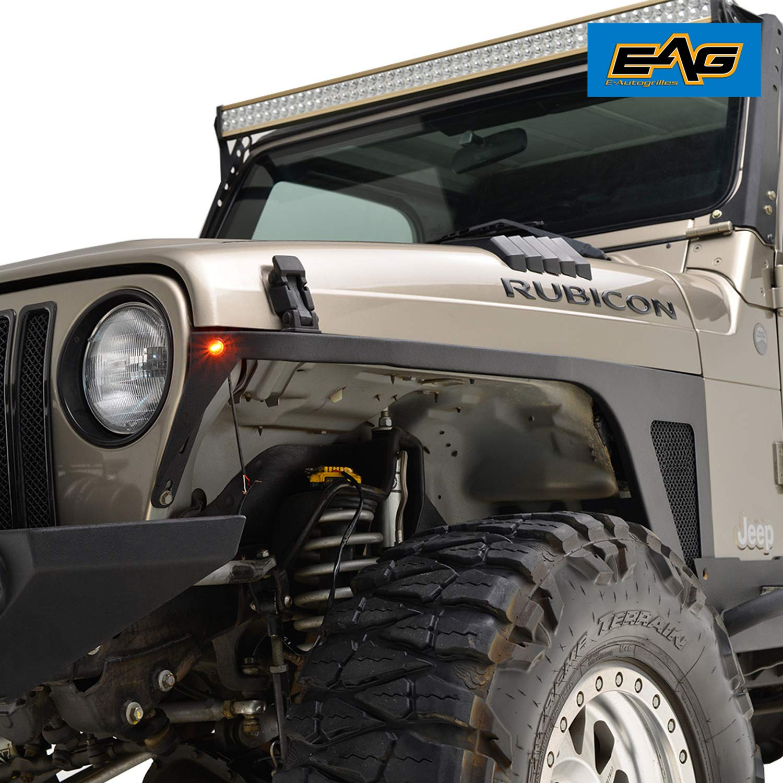 EAG Front Fender with LED Eagle Lights Armor Fit for 97-06 Jeep Wrangler TJ