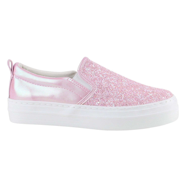 Stiefelparadies Damen Sneaker Slip Ons mit Plateau Glitzer Flandell  38 EU|Rosa Metallic