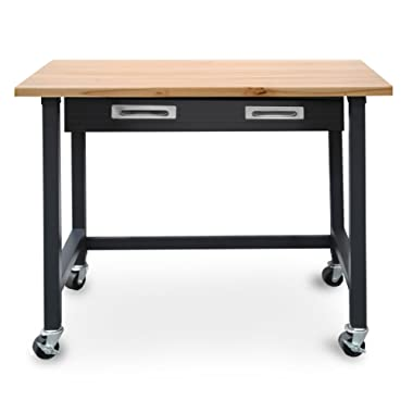 Seville Classics UltraGraphite Wood Top Workbench on Wheels with Organizer Drawer, 48  W x 24.7  D x 37.4  H