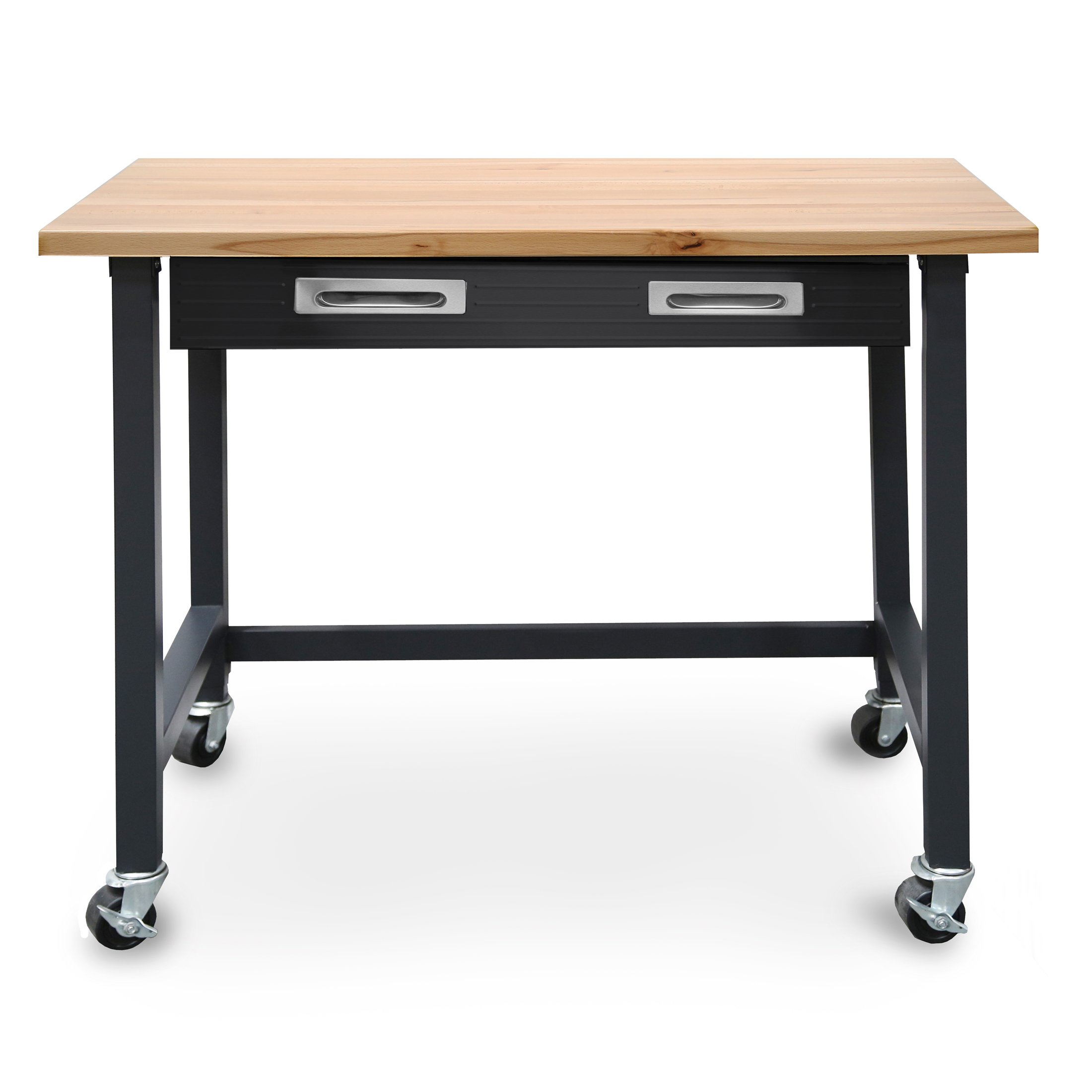 Seville Classics UltraGraphite Wood Top Workbench on Wheels with Organizer Drawer, 48'' W x 24.7'' D x 37.4'' H