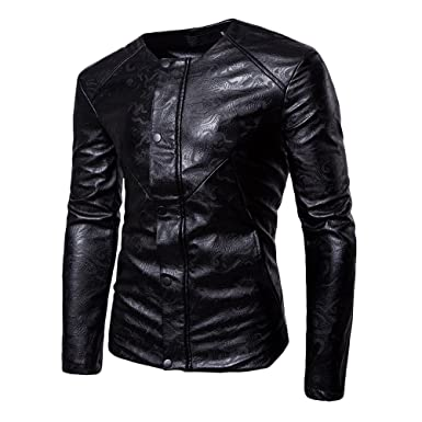 Zhhlaixing Chaqueta Moto Jacket Hombre PU de la Chaqueta de Cuero Mens PU Leather Motorcycle Jacket Slim Fit Manga Larga Coat Soft Chaqueta de Motorista con ...