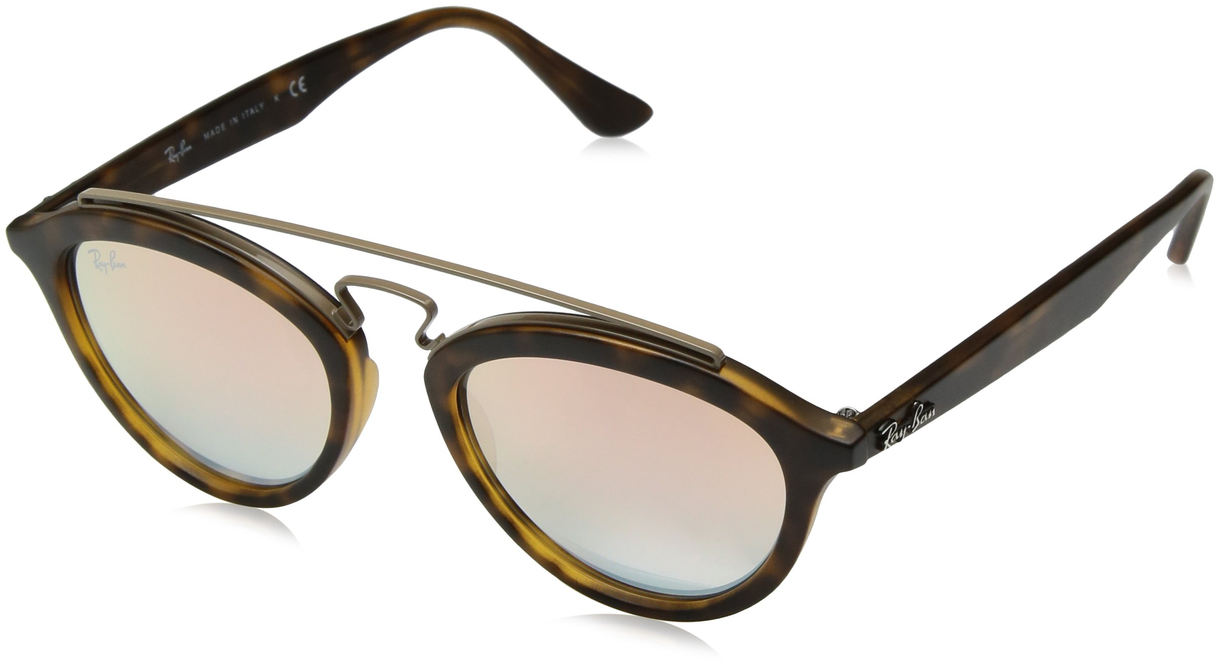 Ray-Ban Women's Gatsby II RB4257 6267B9 Non-Polarized Sunglasses, Matte Havana/Copper Gradient Mirror, 50 mm