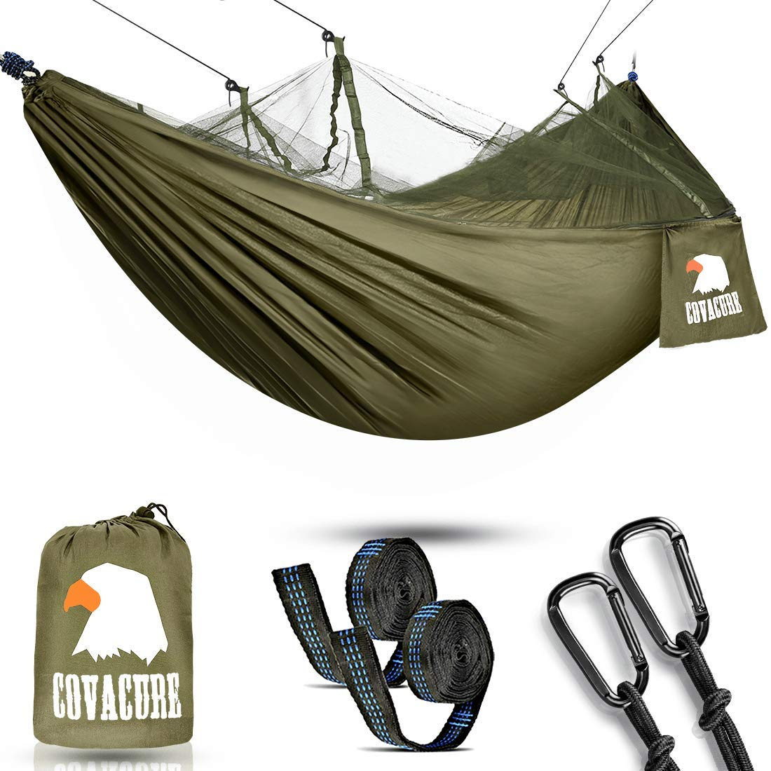 Camping Hammock with Net - Lightweight COVACURE Double Hammock, Portable Hammocks for Indoor, Outdoor, Hiking, Camping, Backpacking, Travel, Backyard, Beach by Covacure