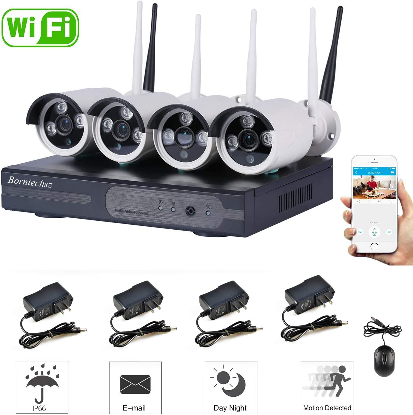 4CH Wireless 1080P DVR KIT CCTV WiFi IP Outdoor Home Security 720p Megapixel WiFi IP Camera