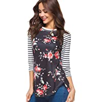 8b4a2bdbc CEASIKERY Women's Blouse 3/4 Sleeve Floral Print T-Shirt Comfy Casual Tops  for