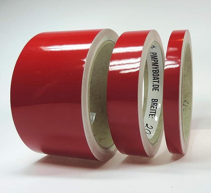 Siviwonder Zierstreifen Rot Karmin Glanz In 50mm Breite Und 10 M Länge Aufkleber Folie Für Auto Boot Jetski Modellbau Klebeband Dekorstreifen Karminrot Auto